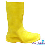 Global Glove Frogwear B260 Yellow Large Chemical-Resistant Boots - 12 in Height - Latex Upper - B260 LG
