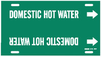 Brady 4316-F White on Green Plastic Water Strap-On Pipe Marker - 1 1/4 in Character Height - B-915