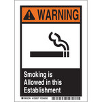 Brady B-302 Polyester Rectangle White Smoking Area Sign - 5 in Width x 7 in Height - Laminated - 123057
