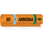 Brady 145772 Orange/Black/Blue/Green Polyester Ammonia Pipe Marker - 10 in Width - 14 in Length with Right Arrow - B-689