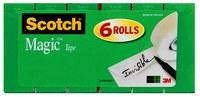 3M Scotch 810K6 Magic Clear Office Tape - 3/4 in Width x 1000 in Length - 59481