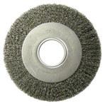 Weiler Steel Wheel Brush 0.014 in Bristle Diameter - Arbor Attachment - 8 in Outside Diameter - 2 in Center Hole Size - 06120