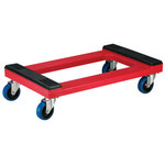Akro-Mils 1200 lb Polyethylene Dolly - 30 in Overall Length - 18 in Width - 8 3/4 in Height - 4 in Swivel Casters - RMD3018RC4PN RED