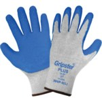 Global Glove Gripster Plus 300P Gray/Blue Large Work Gloves - Rubber Foam Palm & Fingers Coating - 300P LG/LG