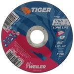 Weiler TIGER Aluminum Oxide Cutting Wheel - Type 27 - Depressed Center Wheel - 60 Grit - 4 1/2 in Diameter - 7/8 in Center Hole -.045 in Thick - 57041