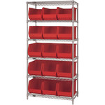 Red Shelves With Bins - 36 in x 18 in x 74 in - SHP-3170