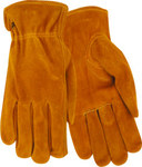 Red Steer 15170 Brown/Yellow Large Cowhide Suede Leather Driver's Gloves - Keystone Thumb - 15170-L