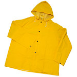 West Chester 4036 Yellow Large Polyester/PVC Rain Jacket - 2 Pockets - Attached Hood - Fits 54 in Chest - 48 in Length - 662909-403629