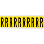 Brady 34 Series 3440-R Black on Yellow Vinyl Cloth Letter Label - Indoor - 7/8 in Width - 2 1/4 in Height - 1 15/16 in Character Height - B-498