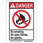 Brady B-401 Polystyrene Rectangle White No Smoking Sign - 10 in Width x 14 in Height - 45056