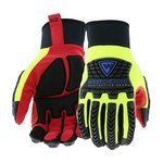 West Chester R2 87830 Yellow/Red/Black Large Leather Work Gloves - Wing Thumb - Synthetic Coating - 87830/L