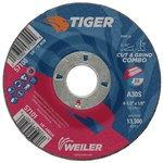 Weiler TIGER Standard (Type 27) Aluminum Oxide Cut & Grind Wheel - 30 Grit - 4 1/2 in Diameter - 7/8 in Center Hole - 1/8 in Thick - 57101