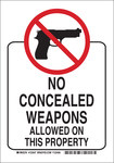 Brady B-555 Aluminum Rectangle White Weapon Control Sign - 7 in Width x 10 in Height - 123545