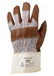Ansell Hyd-Tuf 52-547 Brown/Gray 9 Cotton/Leather Work Gloves - Nitrile Palm Only Coating - 207480