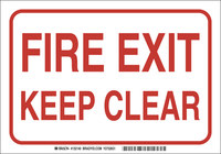 Brady B-401 High Impact Polystyrene Rectangle White Fire Exit Sign - 10 in Width x 7 in Height - 132136