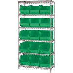 Green Shelves With Bins - 36 in x 18 in x 74 in - SHP-3169