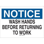 Brady B-555 Aluminum Rectangle White Personal Hygiene Sign - 10 in Width x 7 in Height - 42726