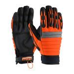 PIP Maximum Safety Miner's Miracle 120-4700 Black/High-Visibility Orange Large Leather/Nylon/Polyurethane/Spandex Work Gloves - PVC Palm & Fingers Coating - 9.5 in Length - 120-4700/L