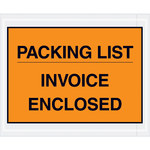 Orange Packing List/Invoice Enclosed Envelopes - 4.5 in x 5.5 in - 2 Mil Poly Thick - SHP-8261