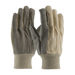 PIP 91-910PD Black/Tan Cotton Canvas General Purpose Gloves - Straight Thumb - PVC Dotted Palm & Fingers Coating