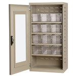 Akro-Mils Akrodrawers 350 lb Putty Steel 18 ga Non-Stackable Secure Mini-Cabinet - 13 1/4 in Overall Length - 19 1/4 in Width - 38 in Height - 12 Drawer - Lockable - ACQV4P62 CLEAR