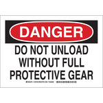 Brady B-555 Aluminum Rectangle White Safety Protection Sign - 10 in Width x 7 in Height - 128706