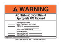 Brady B-302 Polyester Rectangle White Arc Flash Sign - 10 in Width x 7 in Height - Laminated - 94915