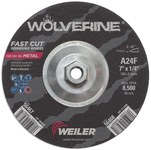 Weiler Aluminum Oxide Surface Grinding Wheel - 24 Grit - Coarse Grade - 7 in Diameter - 1/4 in Thick - 56468