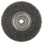 Weiler Steel Wheel Brush 0.0104 in Bristle Diameter - Arbor Attachment - 8 in Outside Diameter - 3/4 in Center Hole Size - 01158
