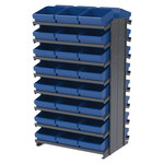 Akro-Mils 800 lb Blue Gray Steel 16 ga Double Sided Fixed Rack - 36 3/4 in Overall Length - 48 Bins - Bins Included - APRD112 BLUE