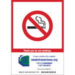 Brady B-401 Polystyrene Rectangle White No Smoking Sign - 7 in Width x 10 in Height - 104057