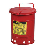 Justrite Red Steel 10 gal Safety Can - 18 1/4 in Height - 13 15/16 in Overall Diameter - 697841-00237