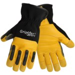 Global Glove Gripster SG2008SC Black/Yellow Large Goatskin Leather/Rubber/Spandex Mechanic's Gloves - SG2008SC/LG
