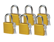Brady Yellow Aluminum 6-pin Keyed & Safety Padlock 51363 - 1 1/2 in Width - 1 3/5 in Height - 1/4 in Shackle Diameter - 2 Key(s) Included - 754476-51363