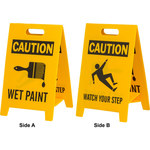 Brady B-836 Polypropylene Rectangle Yellow Floor Stand Sign - 12 in Width x 20 in Height - 92283