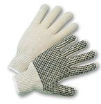West Chester 708SK White Large Cotton/Polyester General Purpose Gloves - Wing Thumb - PVC Dotted Palm & Fingers Coating - 8.5 in Length - 708SKL