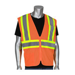 PIP 305-MVZSE Hi-Vis Orange Large Polyester Mesh High-Visibility Vest - 2 Pockets - Fits 49.6 in Chest - 28 in Length - 616314-24408
