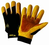 West Chester Ironcat 86350 Black/Yellow Large Split Cowhide Leather/Spandex Work Gloves - 9.5 in Length - 86350/L