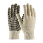 PIP 37-C2110PD Black/White Large Cotton/Polyester General Purpose Gloves - PVC Dotted Palm & Fingers Coating - 10 in Length - 37-C2110PD/L