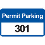 Brady 96248 Black / Blue on White Rectangle Vinyl Parking Permit Label - 4 3/4 in Width - 2 3/4 in Height - Print Number(s) = 301 to 400