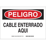 Brady B-555 Aluminum Rectangle White Buried Cable or Line Sign - 14 in Width x 10 in Height - Language Spanish - 38225