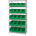 Green Shelves With Wires - 36 in x 18 in x 74 in - SHP-3173