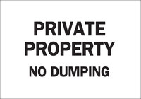Brady B-302 Polyester Rectangle White No Dumping Sign - 10 in Width x 7 in Height - Laminated - 84266