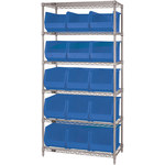 Blue Shelves With Bins - 36 in x 18 in x 74 in - SHP-3168