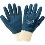 Global Glove 600FC Blue Large Jersey Work Gloves - Nitrile Full Coverage Except Cuff Coating - 600FC-9