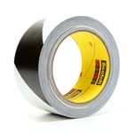 3M 765DC Black / White Warning Tape - 2 in Width x 36 yd Length - 5 mil Thick - 98094