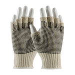 PIP 37-C119PD Black/White Large Cotton/Polyester General Purpose Gloves - PVC Dotted Palm & Fingers Coating - 7.7 in Length - 37-C119PD/L