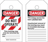 Brady RipTag 150501 Black / Red on White Polyester Lockout / Tagout Tag - 3 in Width - 5 3/4 in Height - B-851