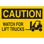 Brady B-401 Polystyrene Rectangle Yellow Truck & Forklift Warehouse Traffic Sign - 14 in Width x 10 in Height - 25906