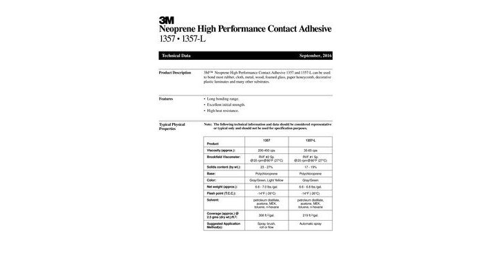 3M Scotch-Weld High Performance 1357L Neoprene Contact Adhesive